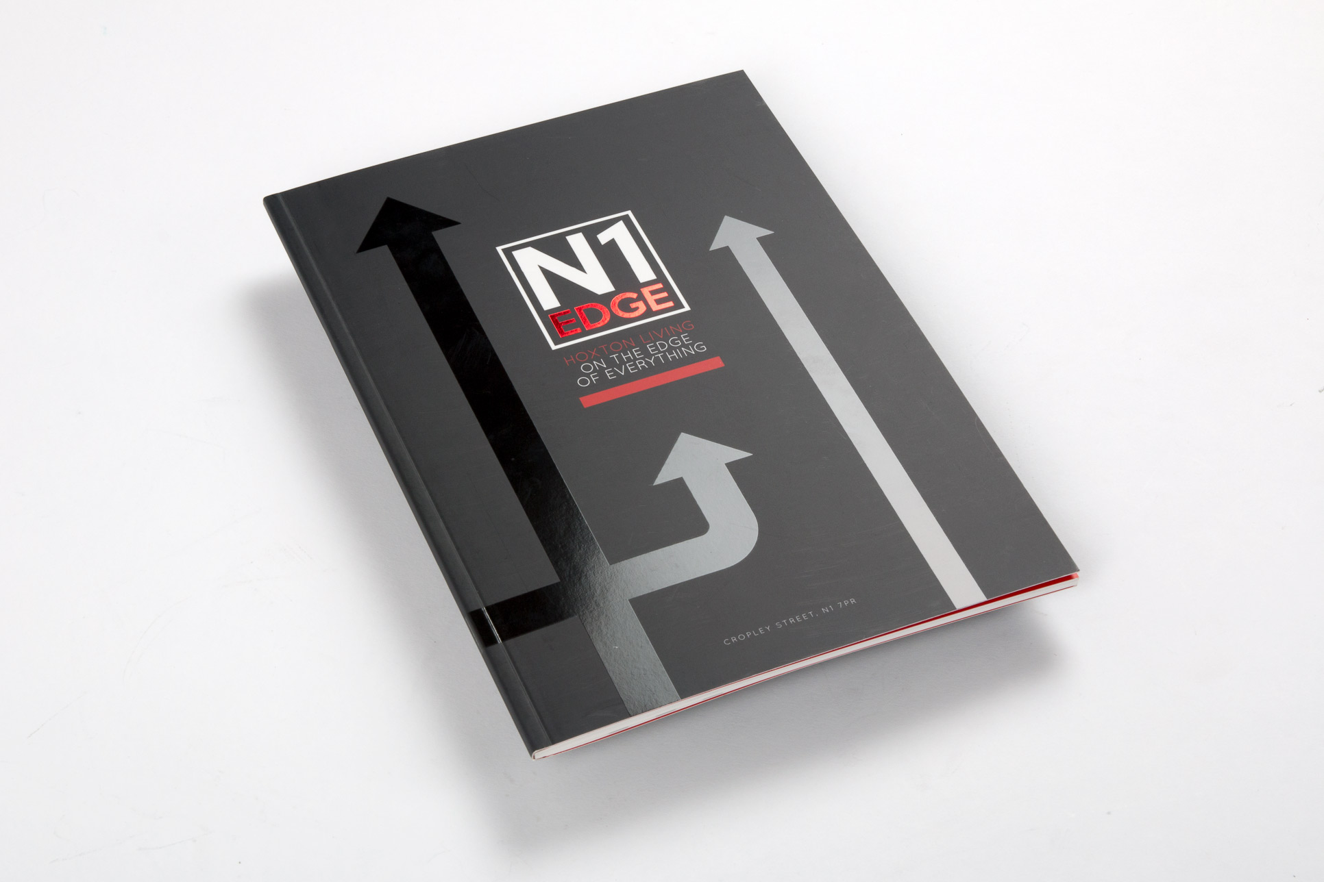 printed property brochure with spot UV on cover